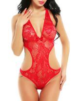 ADOME Sexy Lingerie for Women Irregular Hem Sheer Lace Babydoll