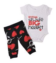 Unique Baby Boys Valentine's Day Bodysuit with XO Pants Clothing Set