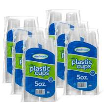 [600 Count] PlastiMade 5 Oz Clear Plastic Disposable Reusable Drinking Cups For Home, Office, Wedding, Events, Parties, Take Out, Water, Juice, Soda, Beer Cocktails (6 Packs)