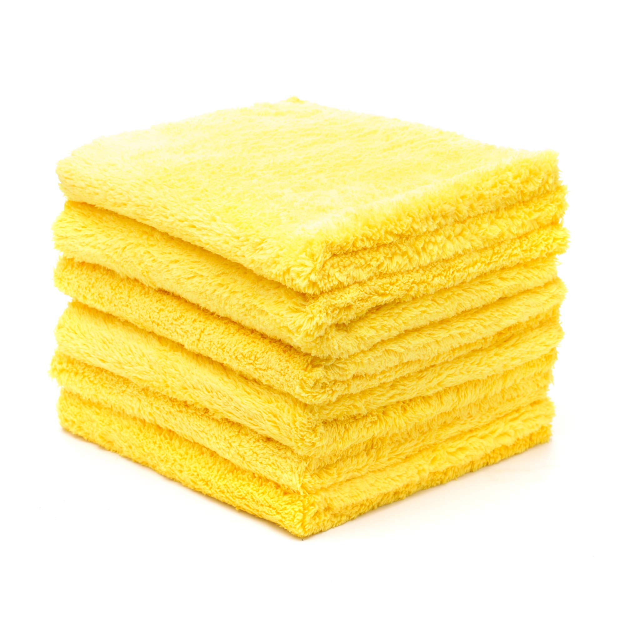 """Kingole Microfiber Cleaning Cloths Rags Pack of 6, All-Purpose Edgeless Strong Absorbent Towels Scratch-Free No Lint or Streaks (Gold, 16""""x16"""")"""
