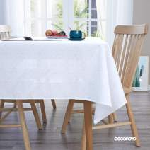 Deconovo Snowflake Pattern Tablecloth Printed Oxford Square Decorative Table Cloth for Dining Room 54x54 Inches White