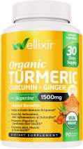 Wellixir Organic Turmeric Supplement – Curcumin with Bioperine Capsules – 90 Veggie Caps with Ginger Root Extract, Curcumin and Turmeric for Joint Health – 95% Curcuminoids Formula