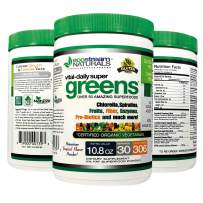 Green Veggie Superfood Powder by Ecostream Naturals - 50 Whole Super Foods with Spirulina, Chlorella, Flax Seed, Fiber and Enzymes with Organic Vegetables - 30 Servings