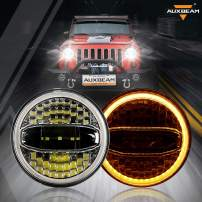 """Auxbeam 7"""" Round LED Headlights Replacement for Jeep Wrangler JK LJ TJ CJ Sahara Sport Rubicon Hummer H2 H1, Newly Honeycombed 7 Inch LED Projector Lenses Design, Hi/Low Beam 7 In LED Headlamps"""