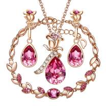 CDE Rose Flower Jewelry Set for Women 4 Pieces Sets Rose Gold Plated Necklace Embellished with Crystals from Swarovski Mothers Day Jewelry Gifts for Mom