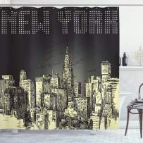 """Ambesonne New York Shower Curtain, Grunge Pop Art Style Retro NYC Sky with Iconic Empire States Building City Print, Cloth Fabric Bathroom Decor Set with Hooks, 75"""" Long, Yellow Grey"""