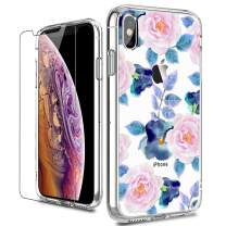 LUHOURI iPhone X Case,iPhone Xs Case with Screen Protector,Clear with Pink Blue Floral Flower Pattern Design for Girls Women,Shockproof Slim Fit Protective Phone Case for iPhone X/iPhone Xs