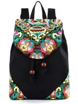 Embroidered Women's Backpack Purse, Cotton Canvas Shoulder Bag Daypack Travel Handbag