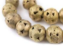 Round Brass Filigree Beads - Full Strand of Fair Trade African Metal Beads - The Bead Chest (20mm, Cameroon)