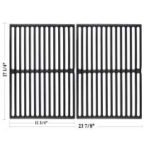 """Hisencn 7526 17.25 Inch Grill Grates Replacement for Weber Spirit 300, E-310, E-320, S-310, S-320, 17.25"""" Matte Cast-Iron Cooking Grid for Spirit 700, Genesis 1000 – 5000, Silver & Gold B/C, Plat"""