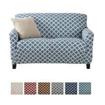 Home Fashion Designs Printed Twill Love Seat Slipcover. One Piece Stretch Loveseat Cover. Strapless Love Seat Cover for Living Room. Brenna Collection Slipcover.  (Love Seat, Smoke Blue)