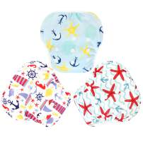 Langsprit 3 Pack Swim Diaper for Baby & Toddle,Reuseable Washable Diaper Swim for Swimming Lesson & Baby Shower Gifts (S, Sailing)