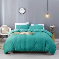 EstoulenDuvetCover King Size, 100%WashedMicrofiberBeddingSet3Piece, SoftandLuxury Stripe Textured Seersucker Duvet Coverwith ZipperClosure&Corner Ties (Dark Green, King)