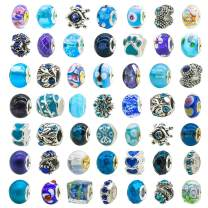 TOAOB 50pcs Assorted Glass European Lampwork Beads Large Holes Spacer Beads Rhinestone Metal Charms Supplies for Bracelet Necklace Jewelry Making
