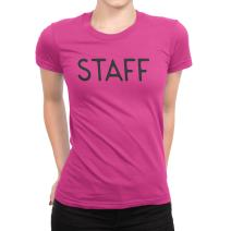 NYC FACTORY Staff T-Shirt Ladies Screen Printed Tee Front & Back Design Event Shirt