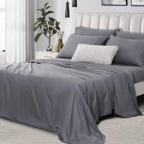 """Umchord Bamboo Sheets Set, 6 Piece 100% Bamboo Bed Sheets Full, Cooling Sheet Set for Hot Sleepers, Moisture Wicking Bed Sheets with 16"""" Deep Pocket, Silky Soft Bedding Sheets (Full, Dark Grey)"""
