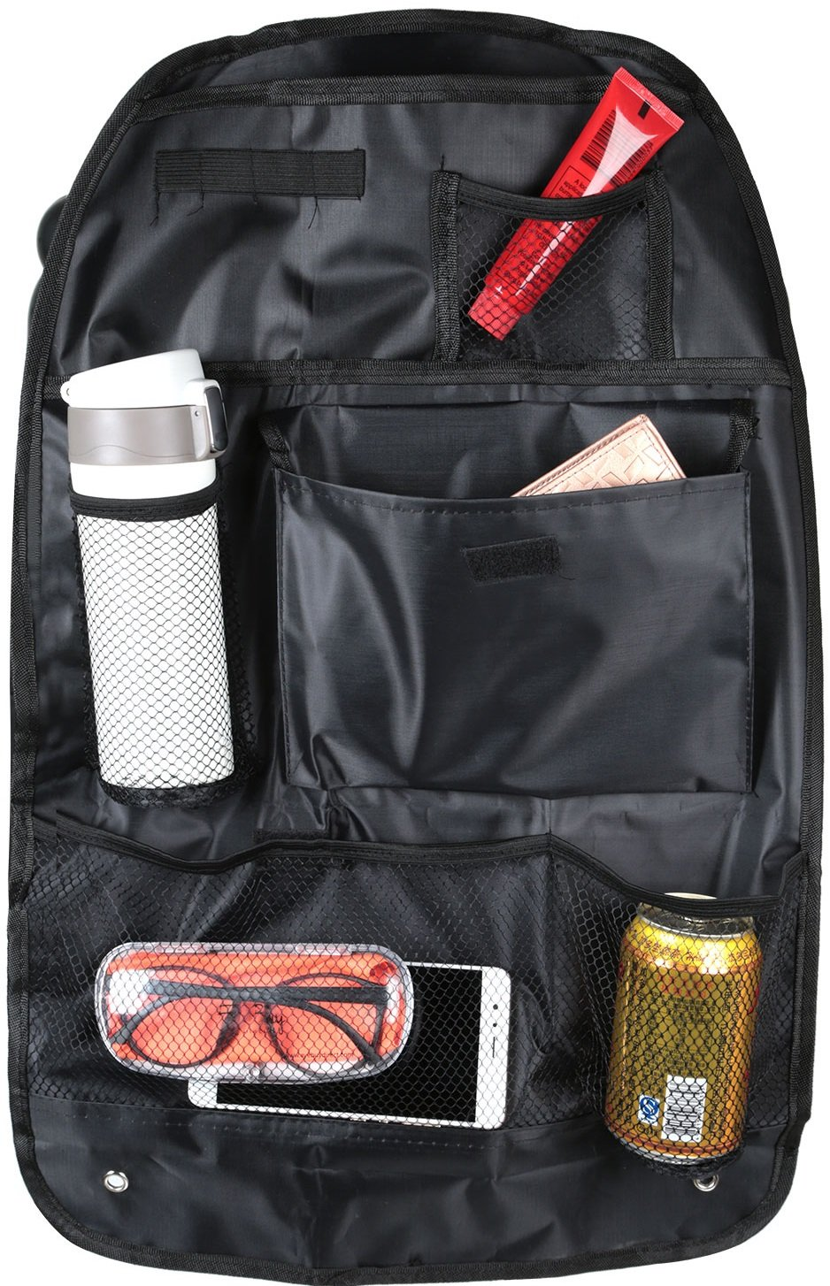 GPCT [Dual Car Backseat Maximum Storage Organizer Set. Protects Against Stains/Dirt/Scuffs. Ideal for Drinks/Snacks/Magazines/Maps/Pens/Umbrellas/Cell Phones- Universal Fit- Cars/Trucks/SUVs- Black