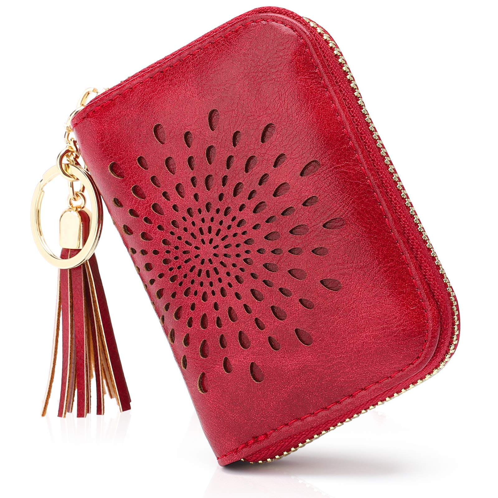 APHISON RFID Credit Card Holder Zipper Card Case Small Wallets for Women Leather Sunflower style Ladies Girls / Gift Box 1927