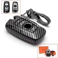 Xotic Tech for BMW 1 3 4 5 6 7 Series Key Fob Cover Carbon Fiber Texture, Keyless Smart Key Shell Protective Hard Case with Keychain, Fit X3 X4 M5 M6 GT3 GT5 4-button Black Entry Remote Control Holder