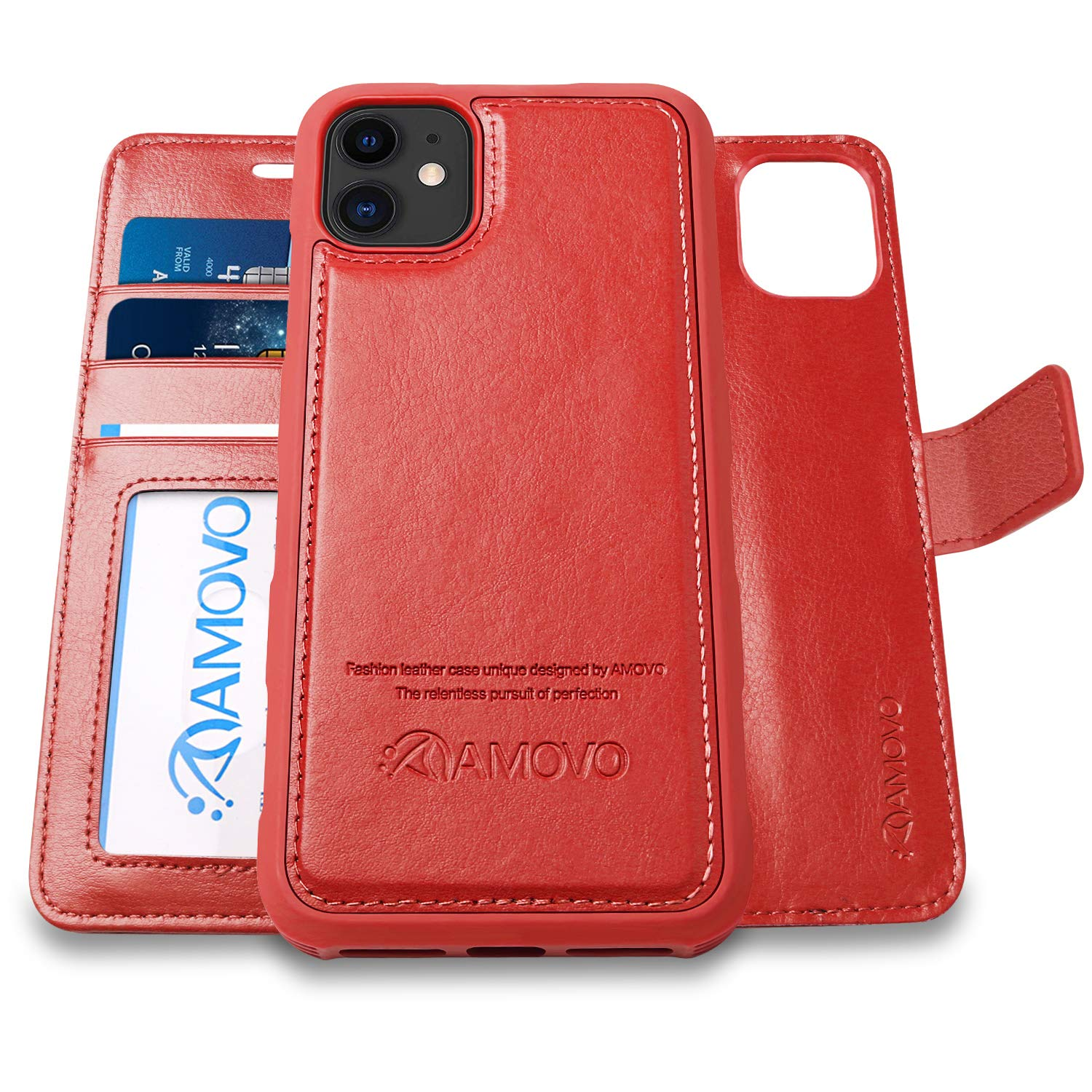 AMOVO Case for iPhone 11 (6.1'') [2 in 1] iPhone 11 Wallet Case Detachable [Vegan Leather] [Hand Strap] [Kickstand] iPhone 11 Flip Folio Case with Gift Box Package (iPhone 11 (6.1''), Red)