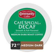 Community Coffee Café Special Medium-Dark Roast Decaf Single Serve K-Cup Compatible Coffee Pods, Box of 72 Pods