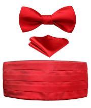 HISDERN Men's Cummerbund Solid Bow Tie and Handkerchief Set