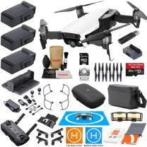 DJI Mavic Air Fly More Combo (Arctic White) with 3 Batteries, 4K Camera Gimbal Bundle Kit with Must Have Accessories