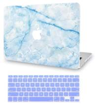 LuvCase 2 in 1 Laptop Case for MacBook Air 13 Inch A1466/A1369 (No Touch ID)(2010-2017) Rubberized Plastic Hard Shell Cover & Keyboard Cover (Blue Marble Blue Veins 2)