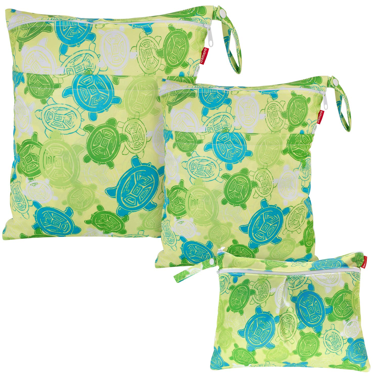 Damero 3pcs Pack Wet Dry Bag for Cloth Diapers Daycare Organizer Bag, Turtles Green