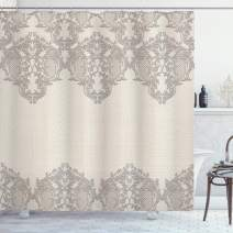 """Ambesonne Taupe Shower Curtain, Lace Like Framework Borders with Details Delicate Intricate Retro Dated Print, Cloth Fabric Bathroom Decor Set with Hooks, 70"""" Long, Taupe"""