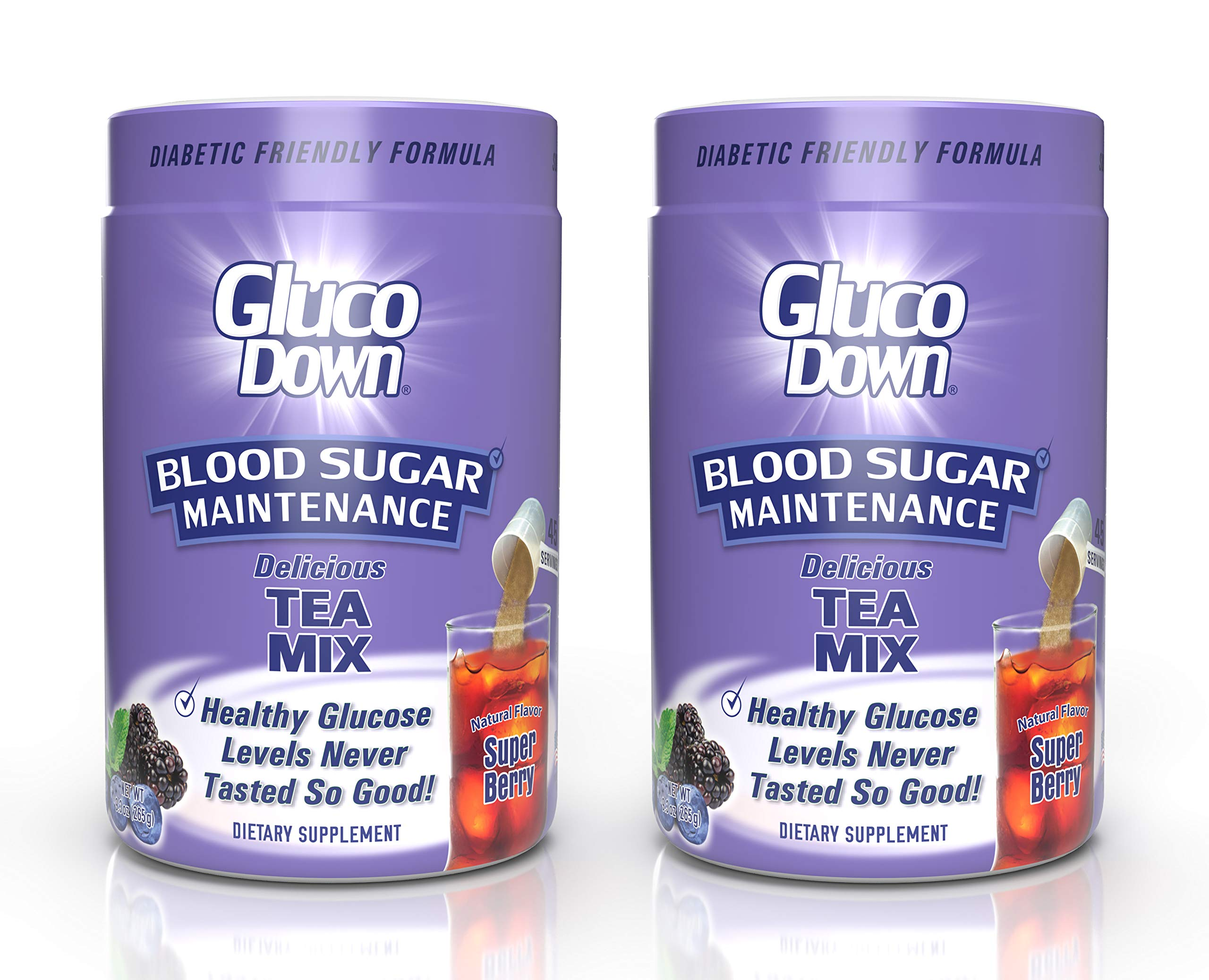 2-Pack, GlucoDown Diabetic Friendly Beverage, Maintain Healthy Blood Sugar, Delicious Super Berry Tea (Two 45-Serving Containers)