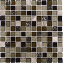 MTO0210 Modern Squares Brown Glossy Glass Stone Mosaic Tile