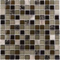 MTO0210   Modern Uniform Squares Black Brown Beige Glass Stone Mosaic Tile