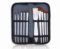 Magritte Paint Brush Set with Case 10pcs for Gouache Travel paintbrushes Nylon Hair Different Shapes and Sizes for Detail,Face, Canvas,Paint by Numbers