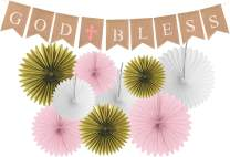 God Bless Baptism Banner for Girl | First Communion Party Banner | Christening Decorations for Wedding | Baby Baptism Decorations for Girls | 9 Premium Glittering Matching Paper Fans