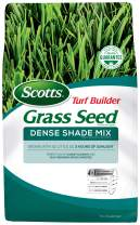 Scotts Turf Builder Grass Seed Dense Shade Mix - 7 Lb. - Grows in as Little as 3 Hours of Sunlight, Mix of Shade-Tolerant and Self-Repairing Grass Varieties, Covers up to 1,750 sq. ft.