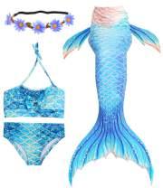 Newland 4 Pcs Girls Swimsuit Mermaid Tails for Swimming Princess Bikini Bathing Suit Set