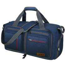 Travel Duffel Bag, 75L Packable Duffle Bag with Shoes Compartment Foldable Weekender Bag for Men Women Water-proof & Tear Resistant HIKISS-Blue
