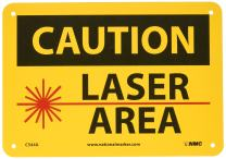 """NMC C544A OSHA Sign, Legend """"CAUTION - LASER AREA"""" with Graphic, 10"""" Length x 7"""" Height, Aluminum, Black/Red on Yellow"""
