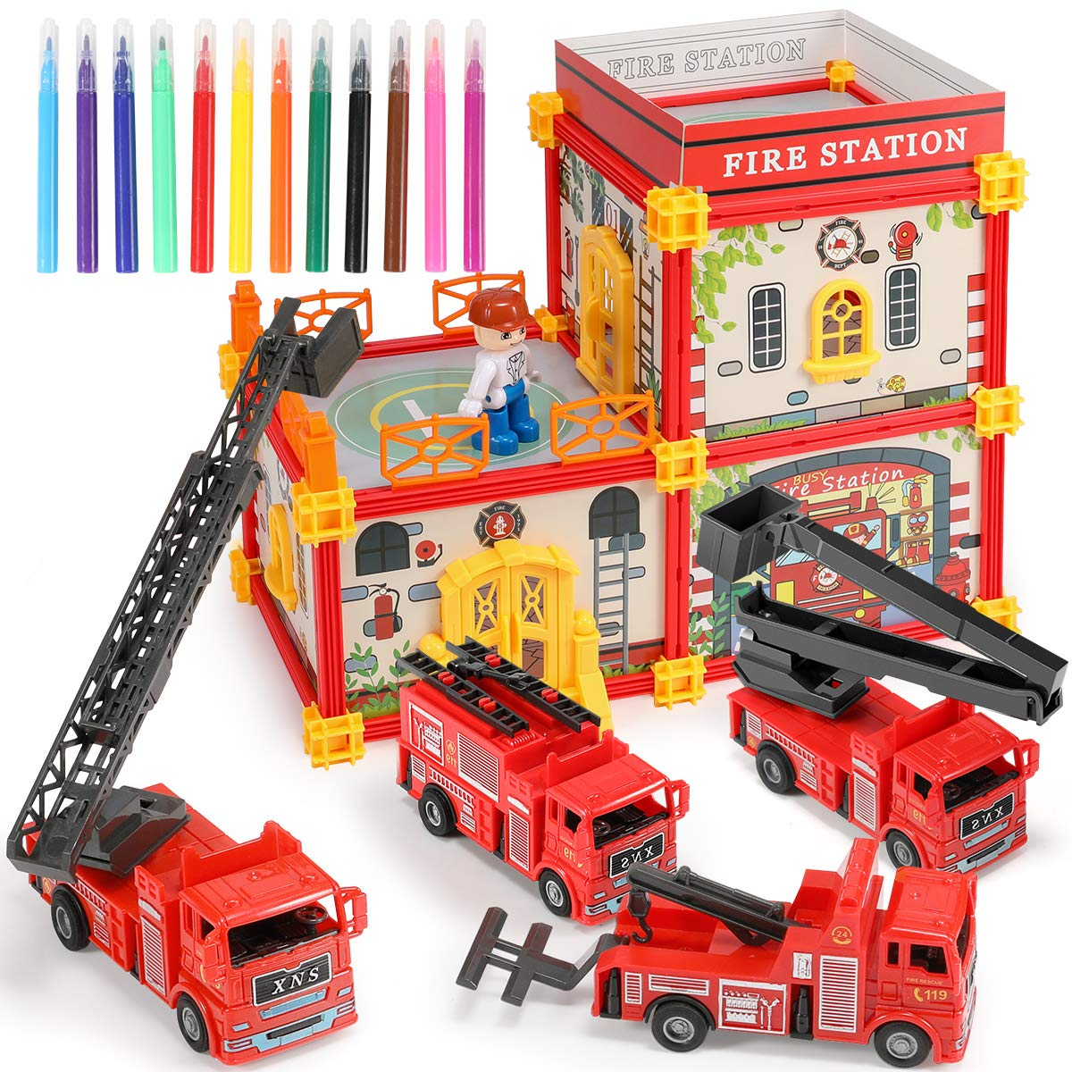 Geyiie Fire Truck Vehicle Car Toy Set Play Vehicles in Carrier for Over 3 Years Old Boys