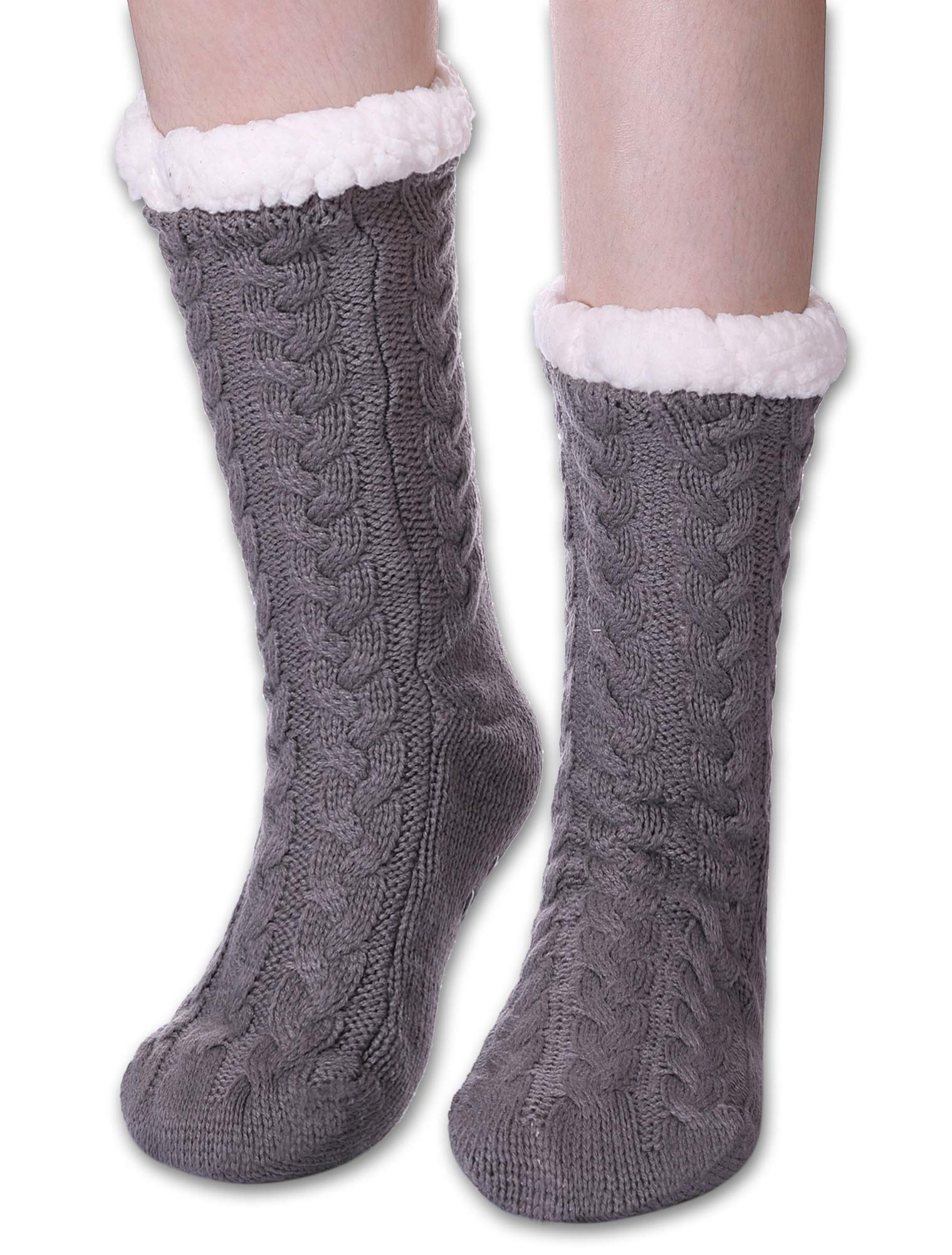 LANLEO Womens Fuzzy Slipper Socks Winter Soft Thick Warm Fleece Lining Cable Knit Christmas Socks with Grippers