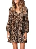 GOSOPIN Women Leopard Tunic Dress V Neck Floral Swing Shift Dresses