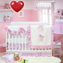 Brandream Classic Crib Bedding Sets for Girls Pink White Ruffle Nursery Bedding with Crib Rail Cover Princess Baby Girls Nursery Bedding, 100% Hypoallergenic Cotton, 9 Pieces