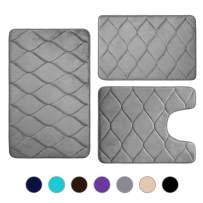 Colorxy Memory Foam Bathroom Rugs - Water Absorbent, Super Soft Non-Slip Bath Mat, Washable Ogee Design Bathroom Mat Set of 3, Small/Large/Contour, Grey