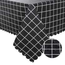 Hiasan Checkered PVC Square Tablecloth 100% Waterproof Spillproof Stain Resistant Wipeable Vinyl Table Cloth for Outdoor Picnic Kitchen Dining, 54 x 54 Inch, Black