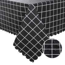 Hiasan Checkered PVC Rectangle Tablecloth 100% Waterproof Spillproof Stain Resistant Wipeable Vinyl Table Cloth for Outdoor Picnic Kitchen Dining, 54 x 80 Inch, Black