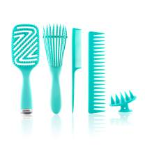 Detangling Brush Comb Set for Curly Hair, Detangler Brush Kit with Curved Vented Brush, Wide-Toothed Comb, Rat Tail Comb and Scalp Massager Shampoo Brush, Use with Wet & Dry Hair - For Women, Men, Long, Short, Thick, Thin Hair Types