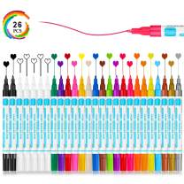 26 Acrylic Paint Marker Pens Set for Rock Painting Craft Supplies Stone Ceramic Porcelain Glass Wood Canvas Coloring Egg, White Black Metallic Paint Markers, Oil Based Extra Fine Point Marker Pen