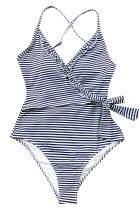 CUPSHE Women's Navy White V Neck Striped One Piece Swimsuit