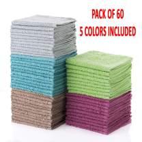 "Simpli-Magic 79148 Cotton Washcloths 12""x12"", 60 Pack, Multi Color, 60 Pack"